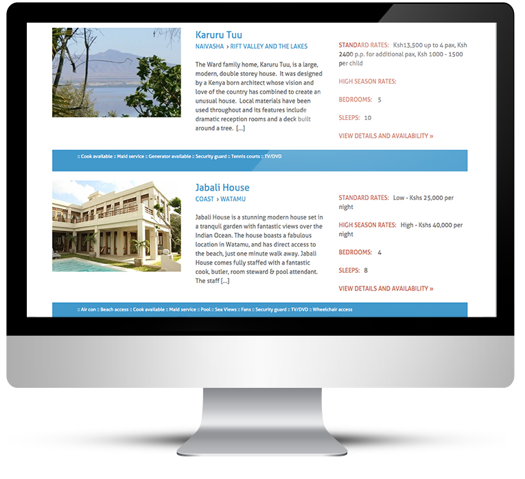 Holiday rentals listings website design