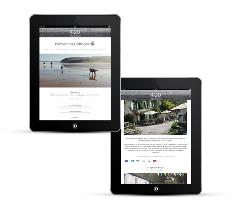 Mobile web design, iPad for Penwartha Cottages