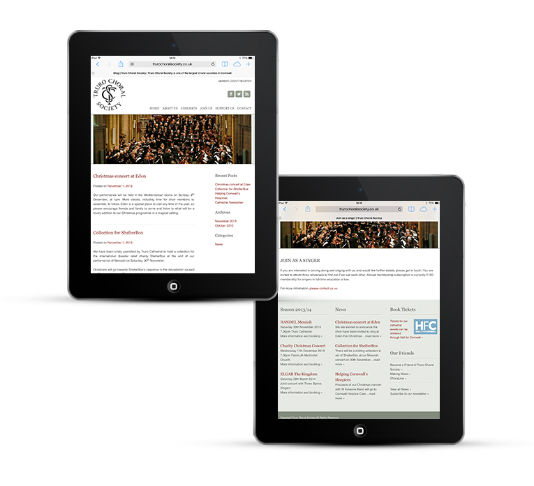 Mobile web design for Truro Choral Society