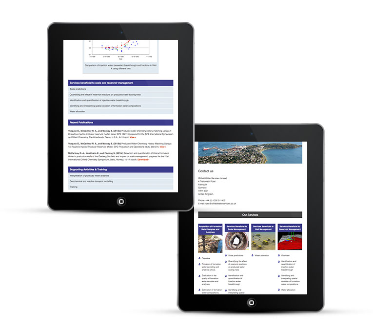 Mobile web design, Oilfield Water Services
