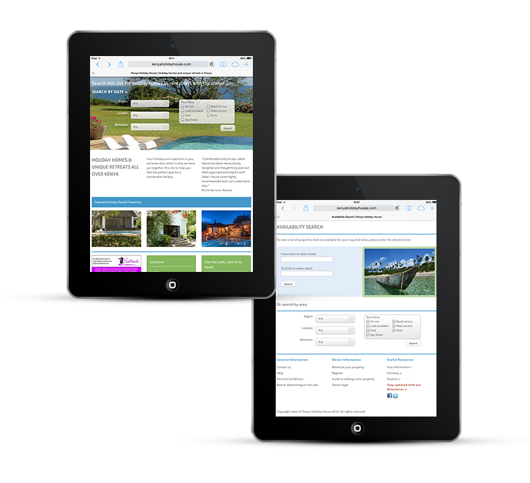 WordPress design for Kenya Holiday House iPad View