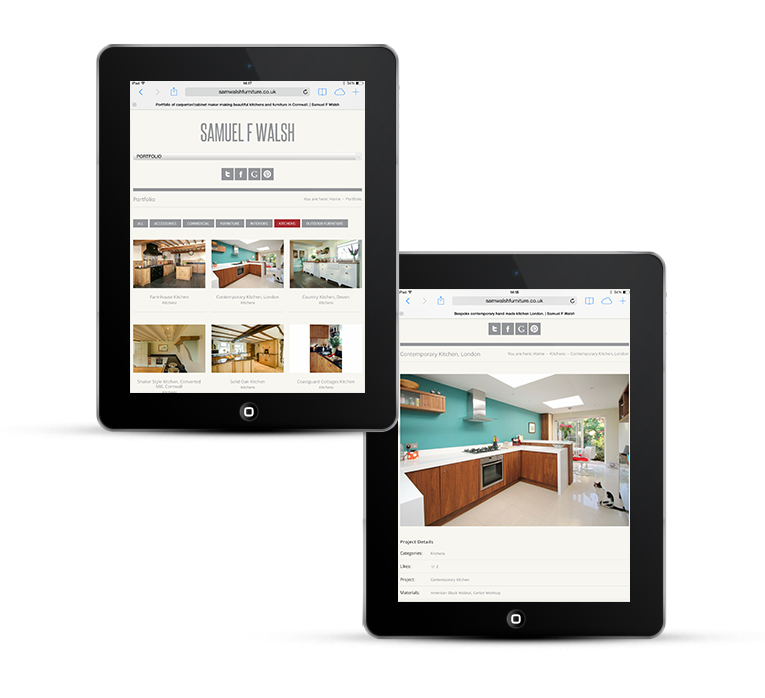 Sam Walsh Kitchens, mobile web design, iPads