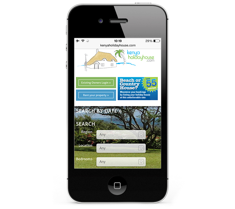 WordPress design for Kenya Holiday House iPhone View