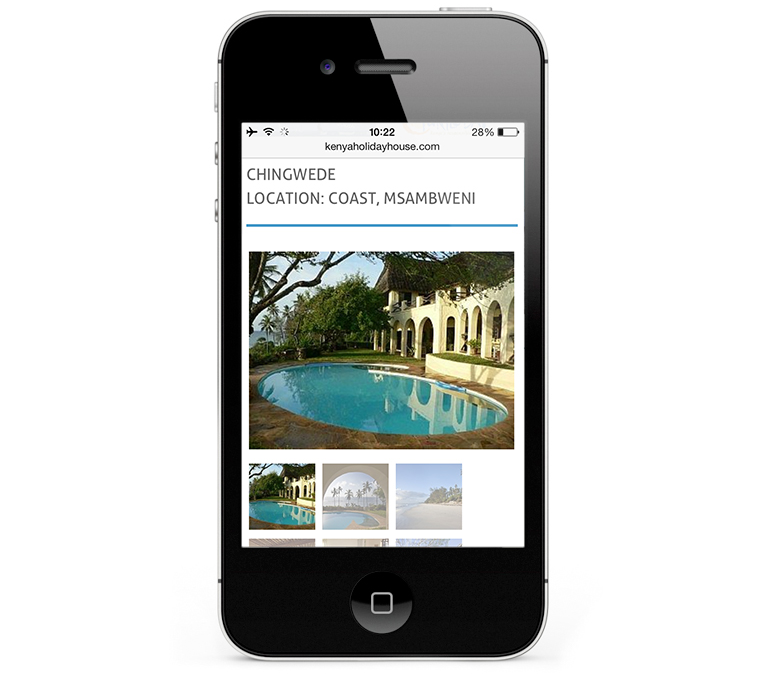Web design for Kenya Holiday House iPhone View