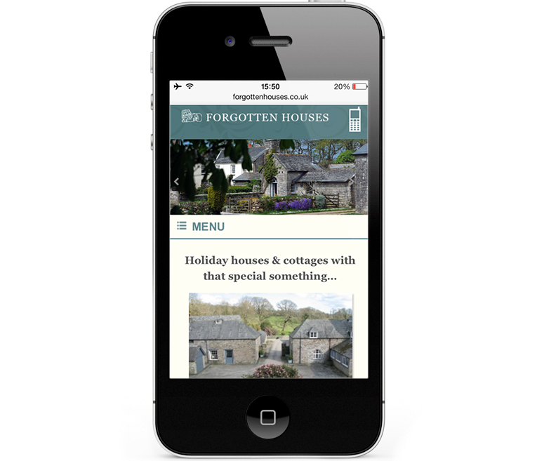 Web design iPhone view - Forgotten Houses