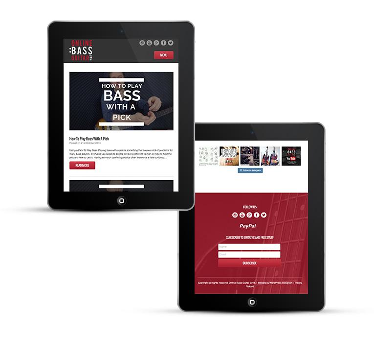 Online bass guitar freelance web design