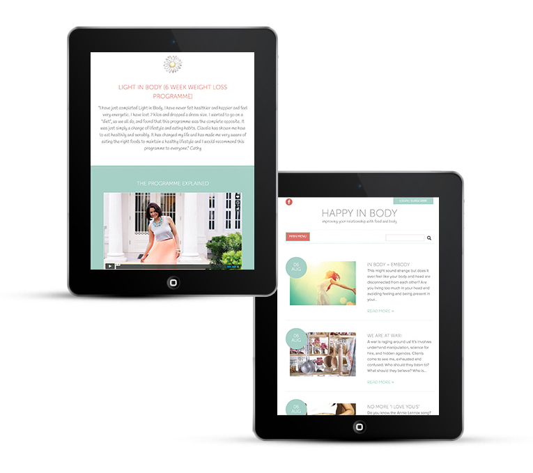 Happy in body web design for iPads