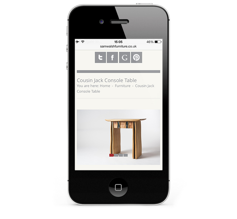 Sam Walsh Kitchens, Mobile Web Design, iPhone