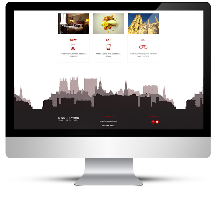 Desktop view, web design for Bespoke York