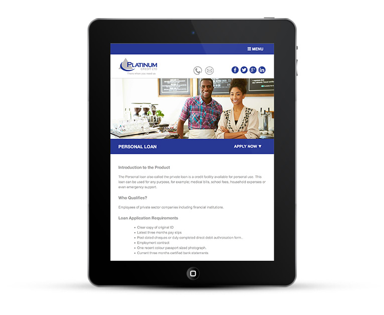 Mobile responsive web design for iPads and Tablets, Platinum Credit Finance