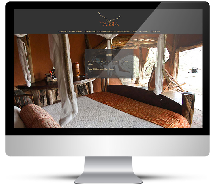 Web Design, desktop view for Tassia Safaris