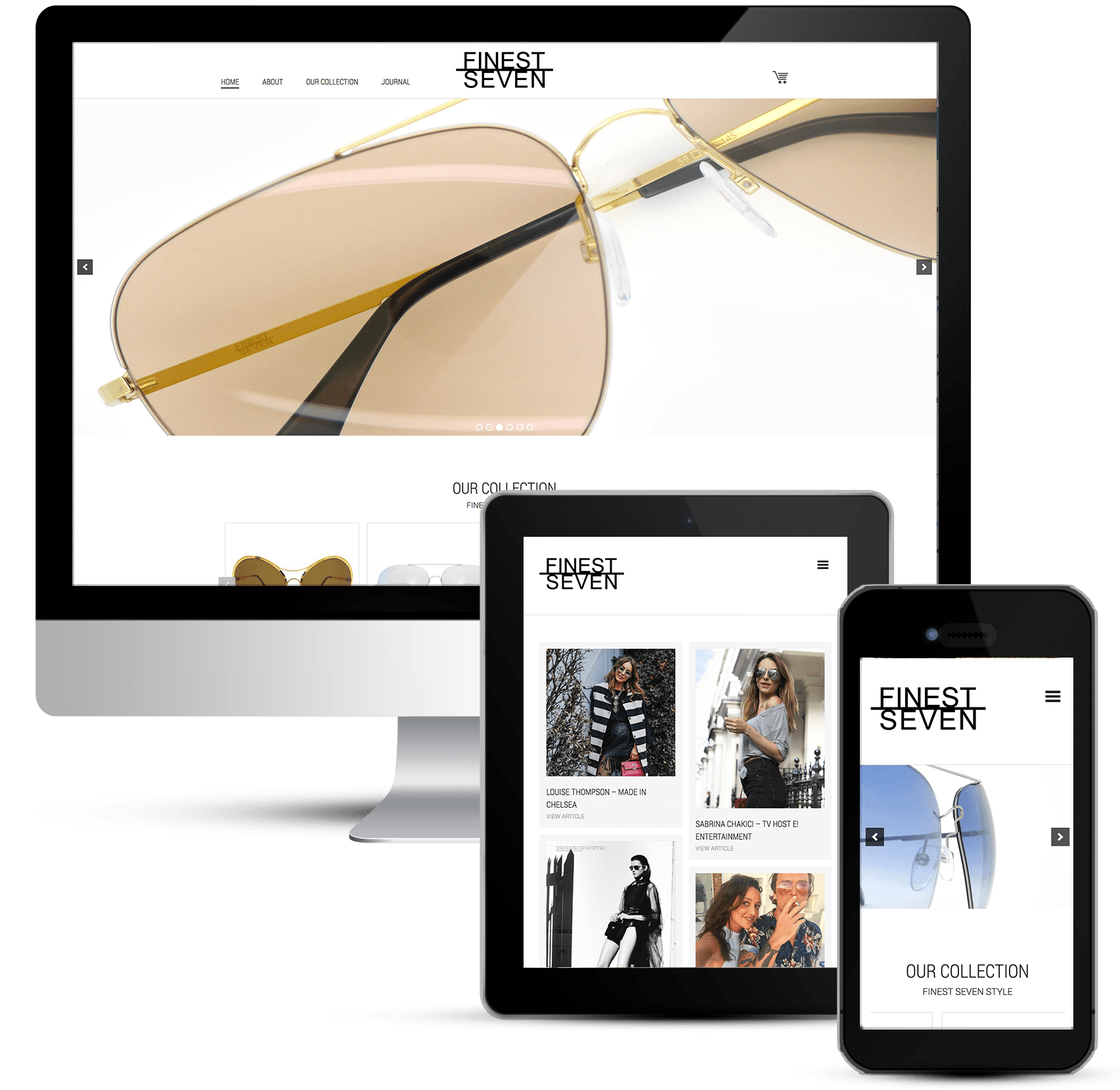 eCommerce Store web design, Finest Seven Designer Sunglasses