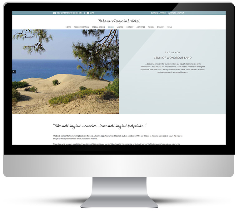 Patara Viewpoint page view on desktop