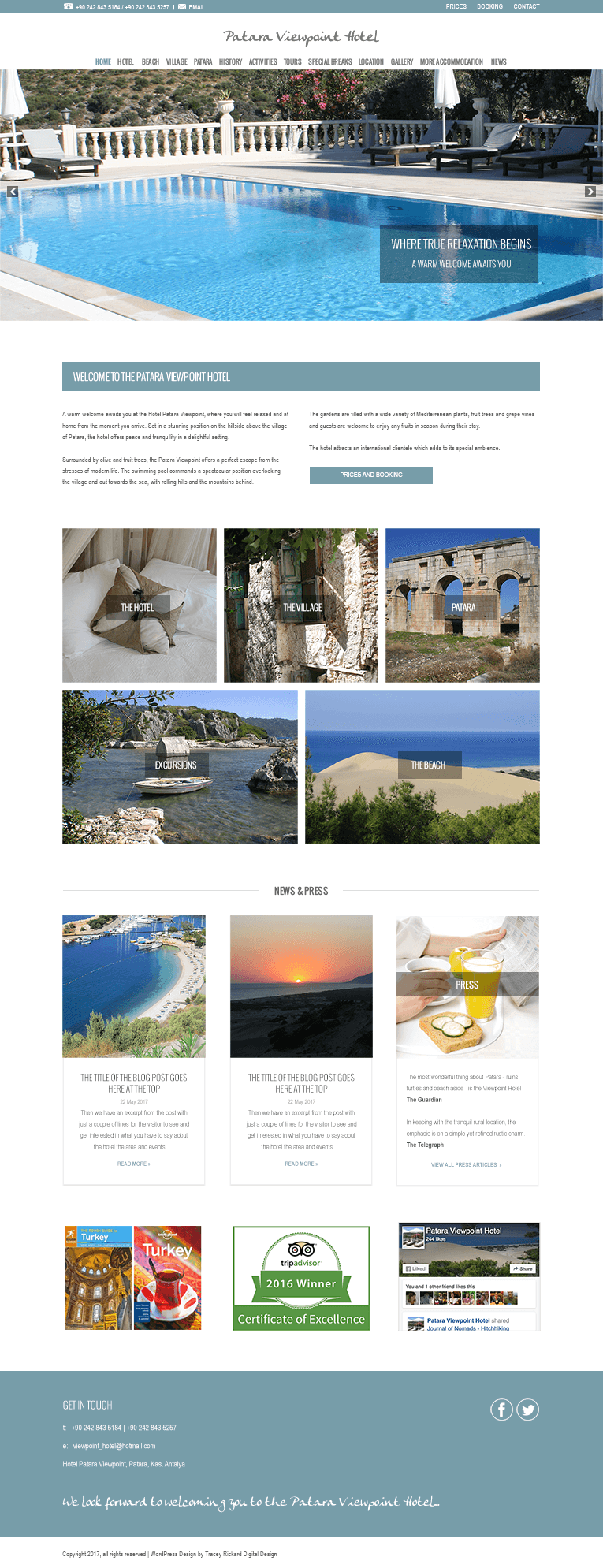 Freelance web design for Patara Viewpoint Hotel