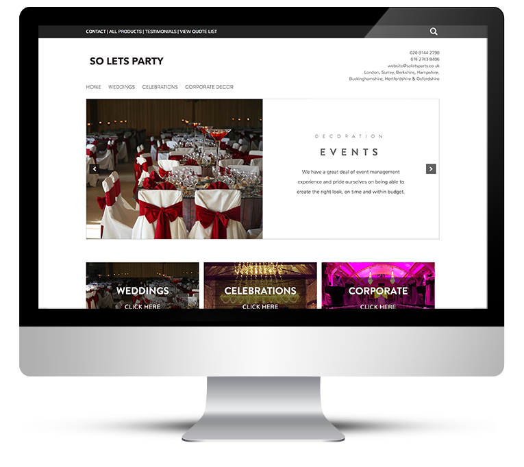 eCommerce responsive web design for party decorator