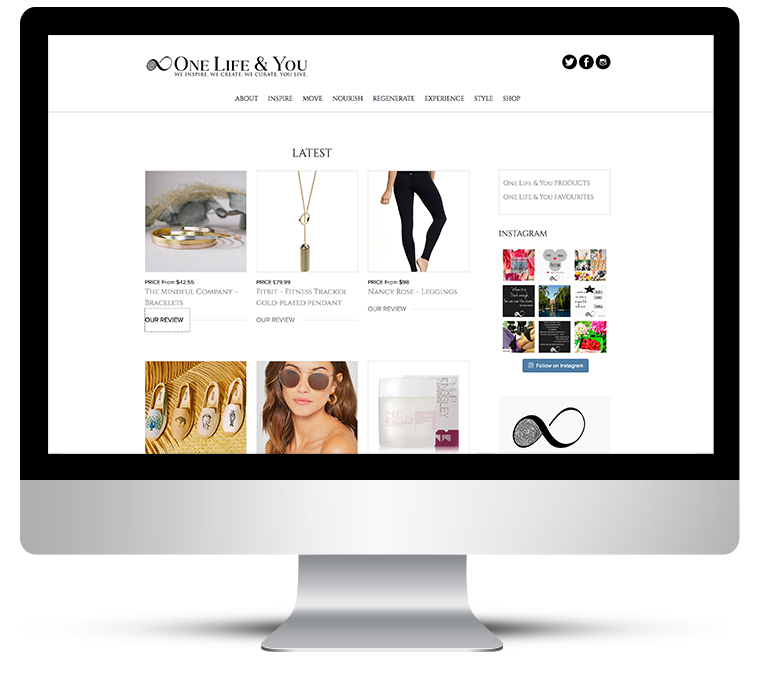 Custom web design for fashion & lifestyle blog