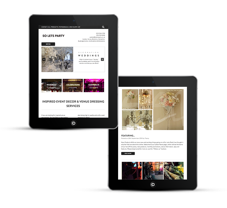 Responsive web design for tablets, eCommerce on ipad