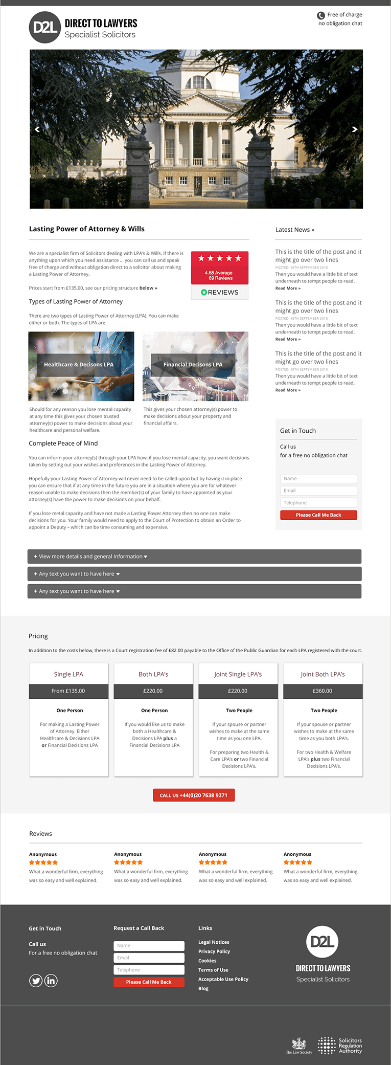 Direct to Lawyers Solicitors Website Design
