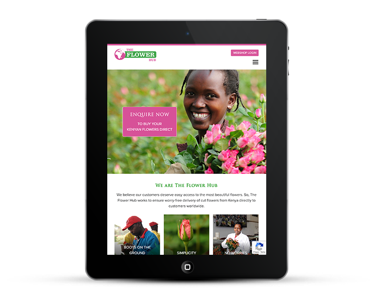 The Flower Hub on Tablet and iPad
