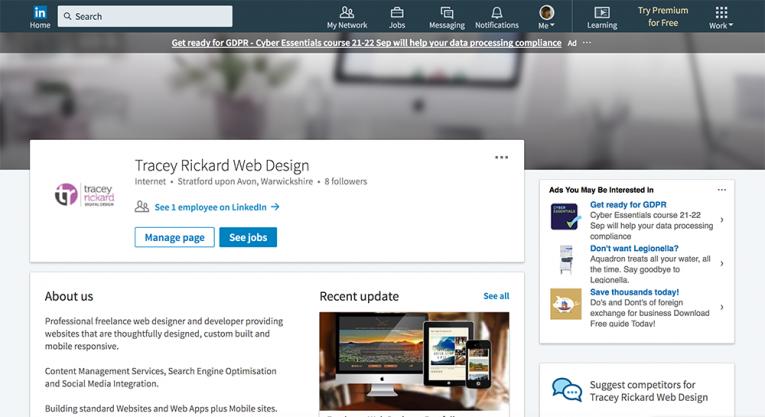 Tracey Rickard LInkedIn Company Page