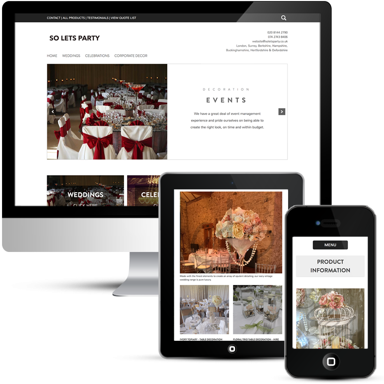 So Let's Party Website Design