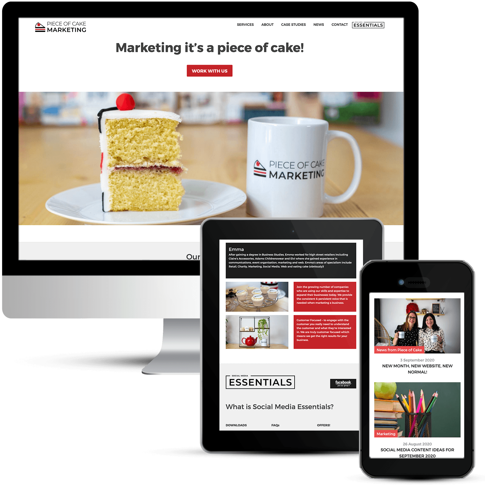 Gorgeous web design for Piece of Cake Marketing