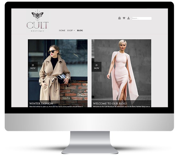 Freelance WordPress design for eCommerce fashion boutique