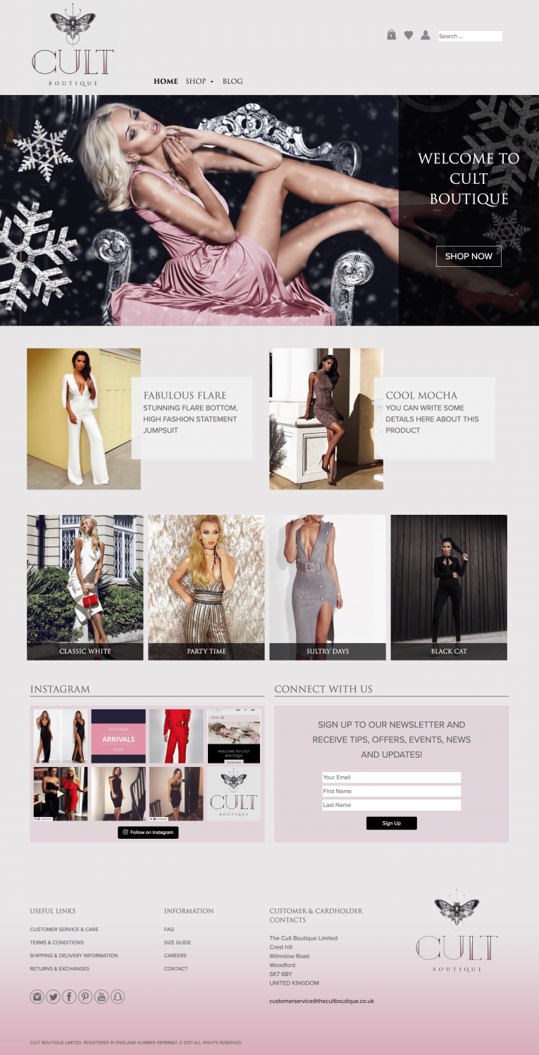 The Cult Boutique Boutique Fashion Web Design