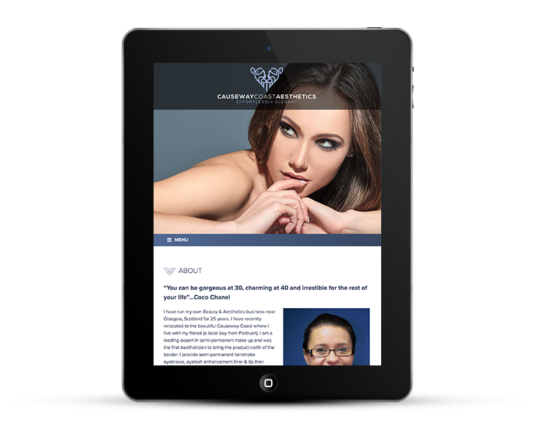 Responsive web design Beauty Salon, iPad view