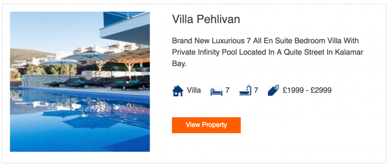 Holiday property search results listing