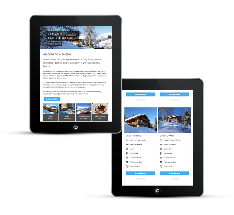 Alpine365 ski chalets website on an iPad