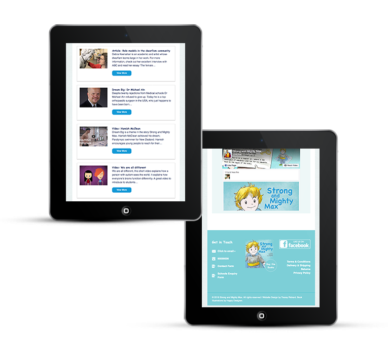 Childrens author site design on iPad