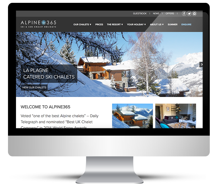 Holiday rentals website for Alpine365 ski Chalets