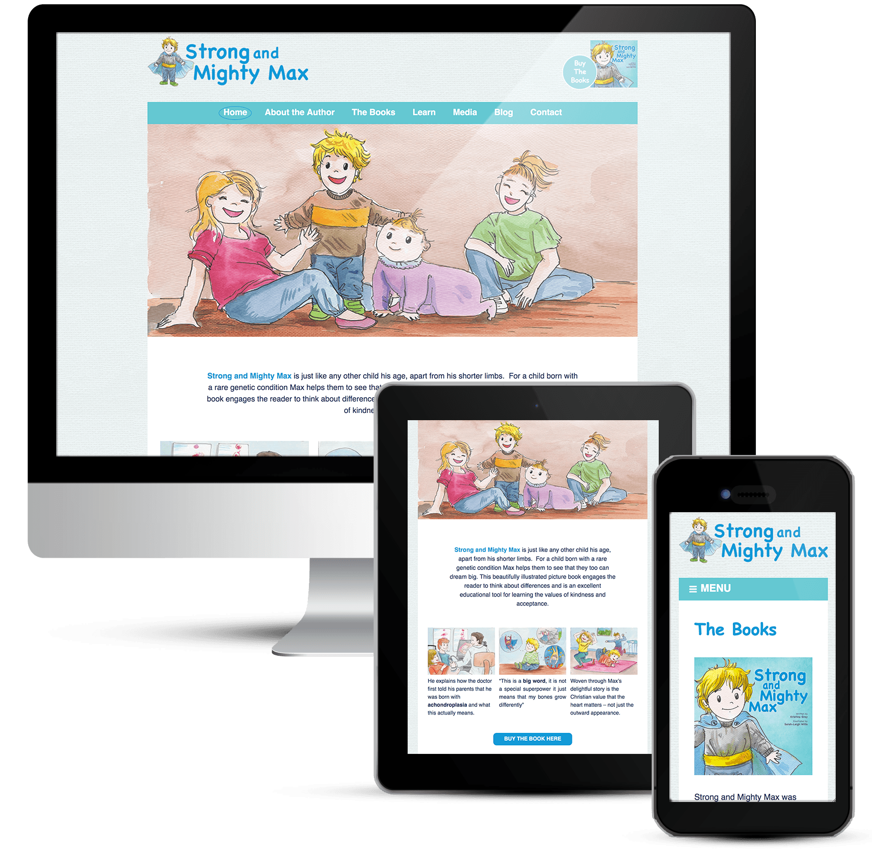 Mighty Max web design for childrens author
