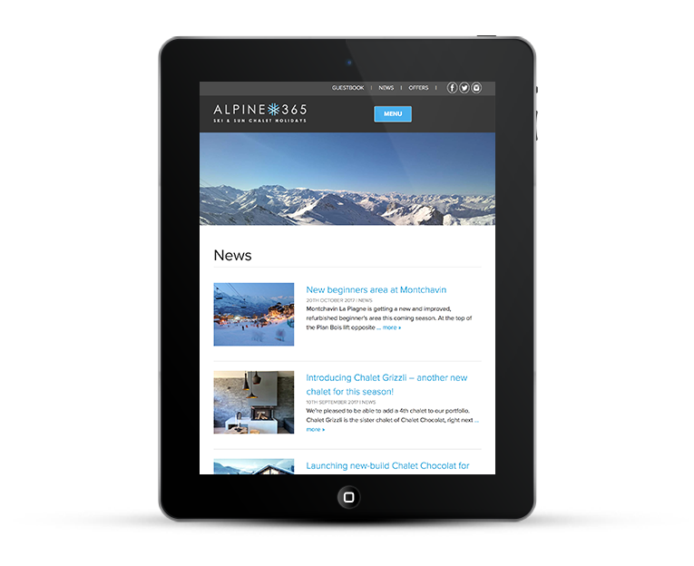 Responsive web design for Alpine365 Ski Chalets