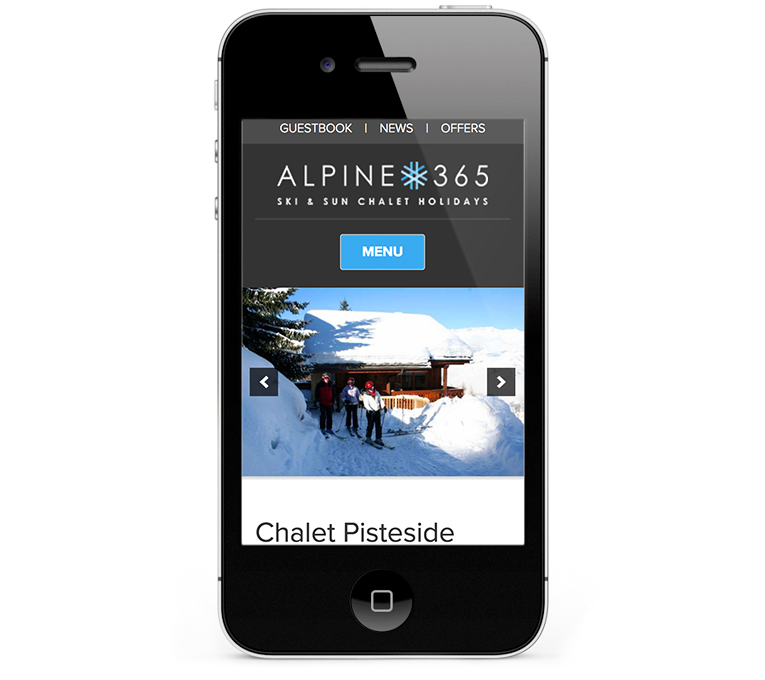 Ski Chalets web design on an iPhone