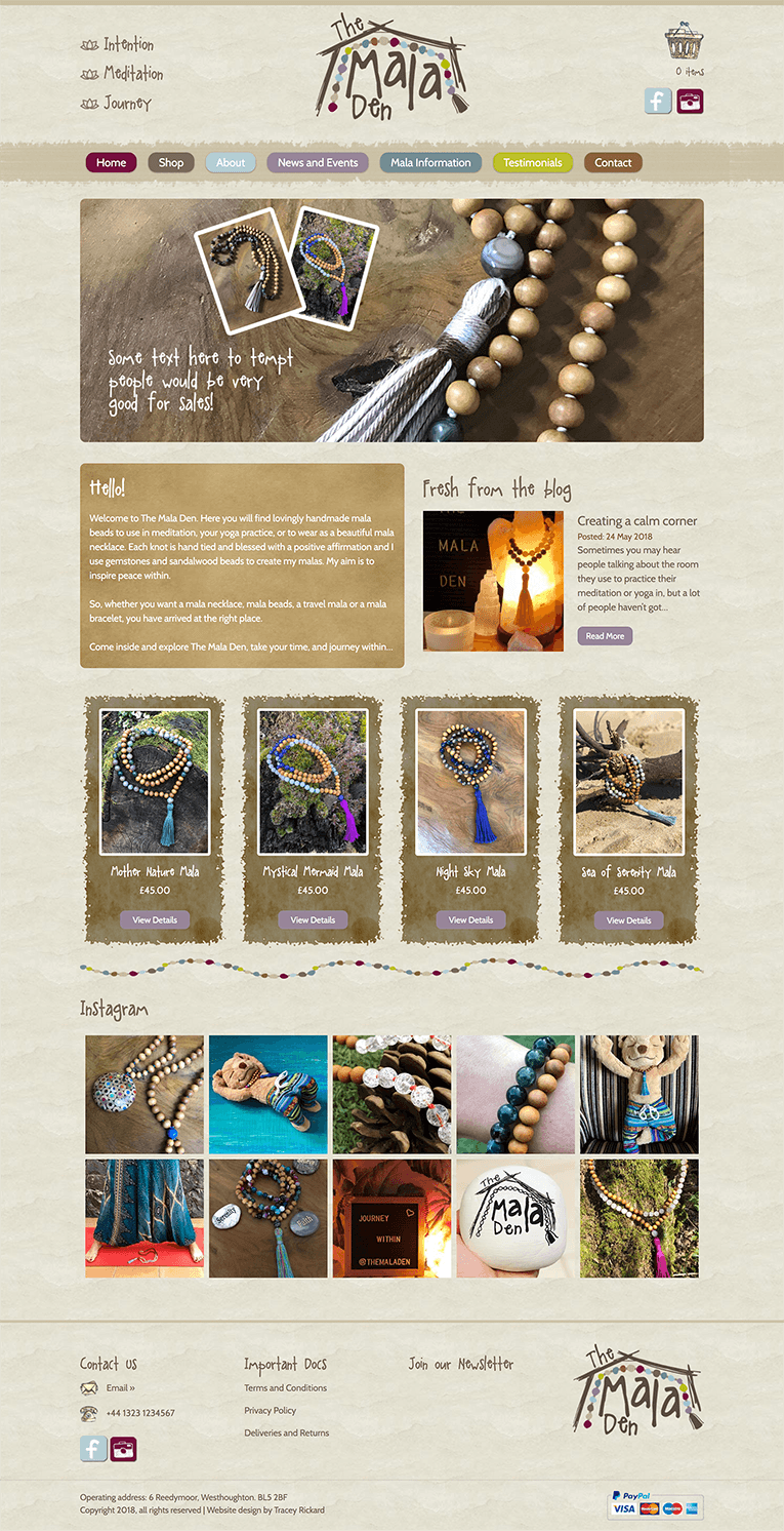 Earthy and Rustic Website Design for the Mala Den