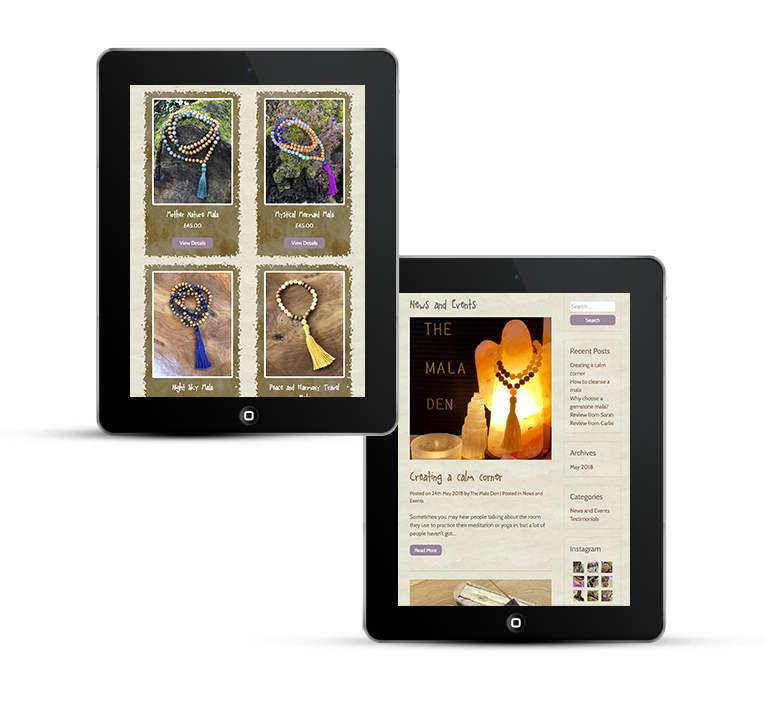 Mala Den web design on tablets and iPads