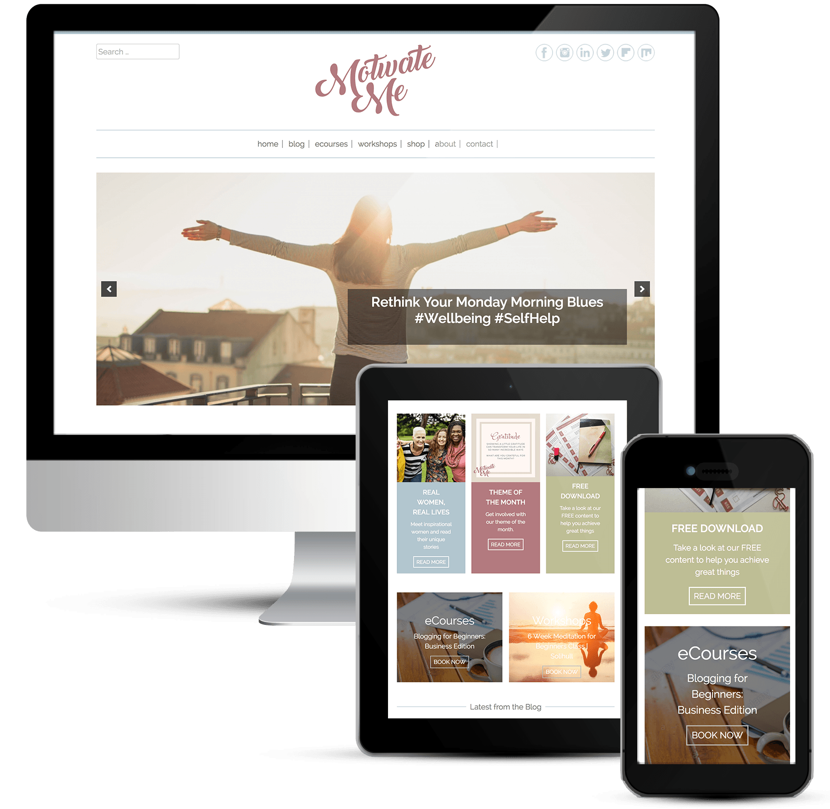 Beautiful responsive web design for Motivate Me Academy