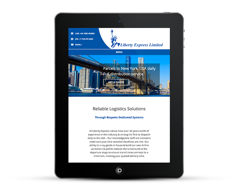 Liberty Express Responsive Web Design iPads and Tablets
