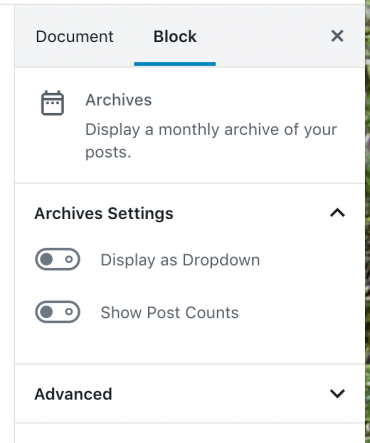 The archive widget block settings