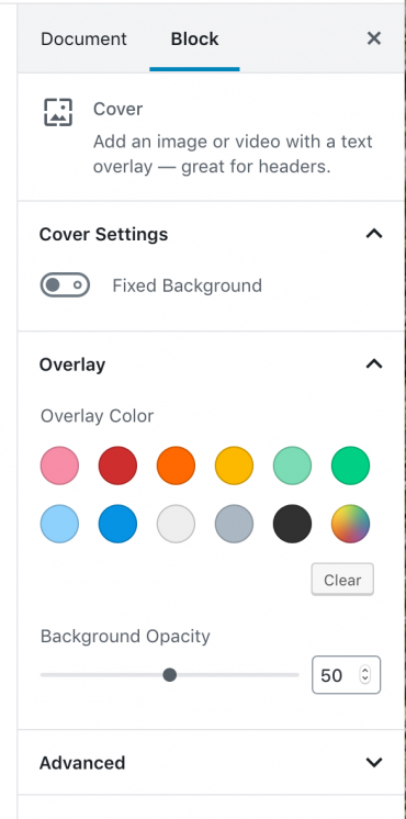 Cover image settings