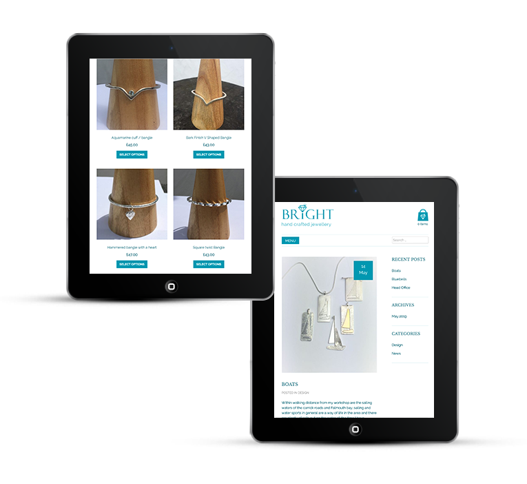 Responsive web design, Bright Jewellery on iPad