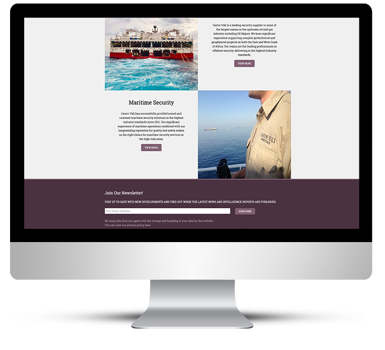 Castor Vali Globl Security WordPress website