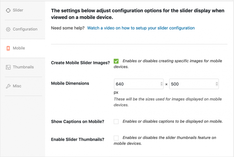 The mobile configuration tab in Soliloquy