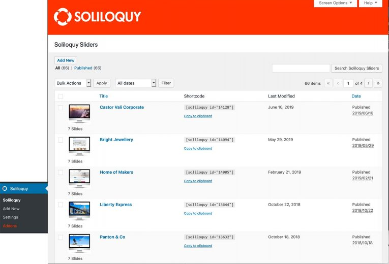 Soliloquy Home page in the WordPress admin