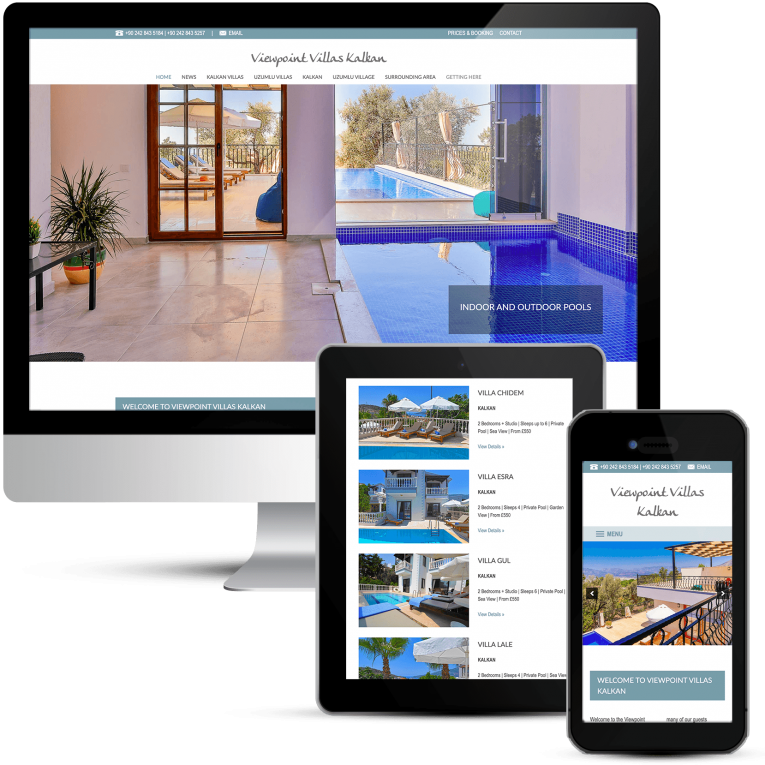 Beautiful web design for Viewpoint Villas in Kalkan