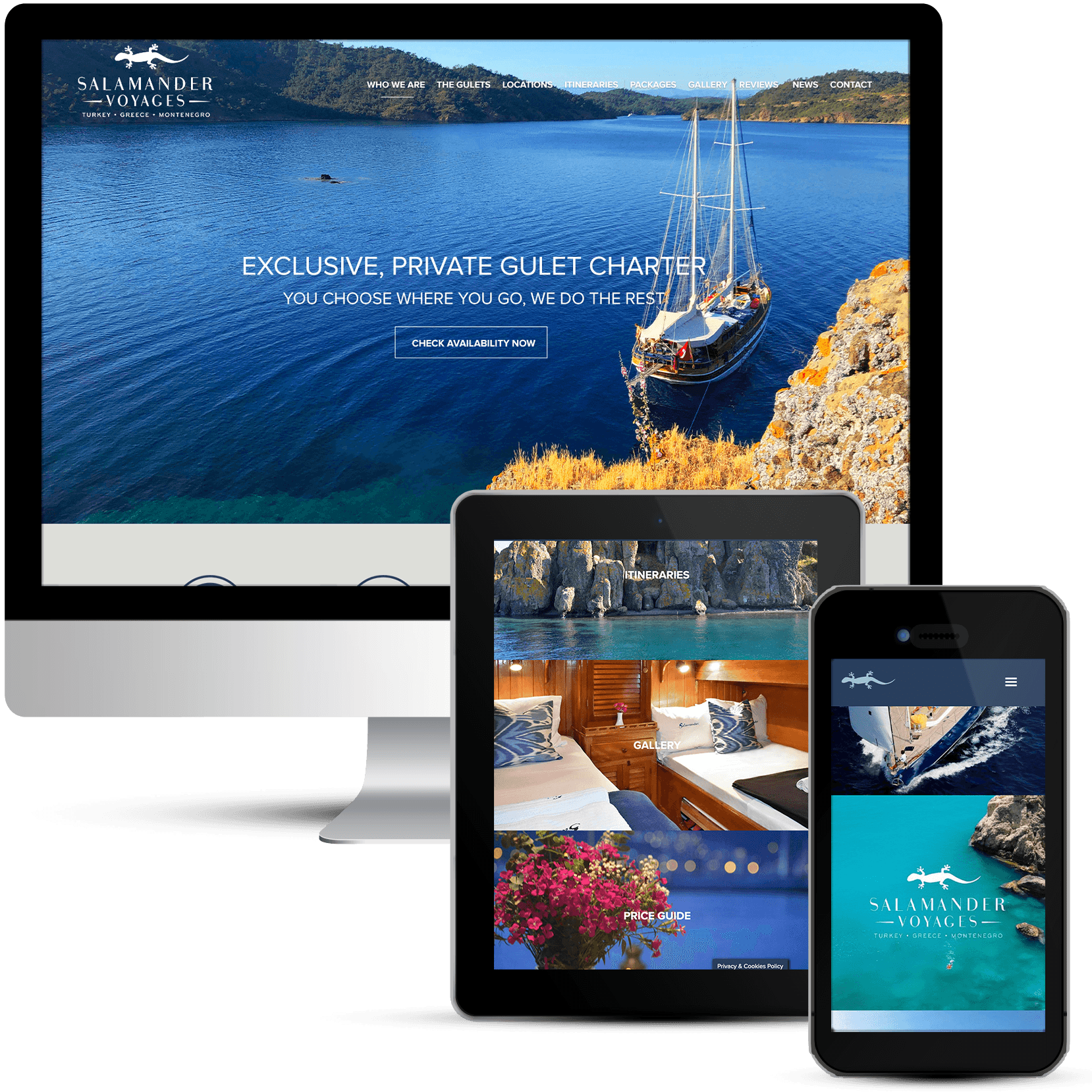 Website Design for Salamander Voyages Private Yacht Charter