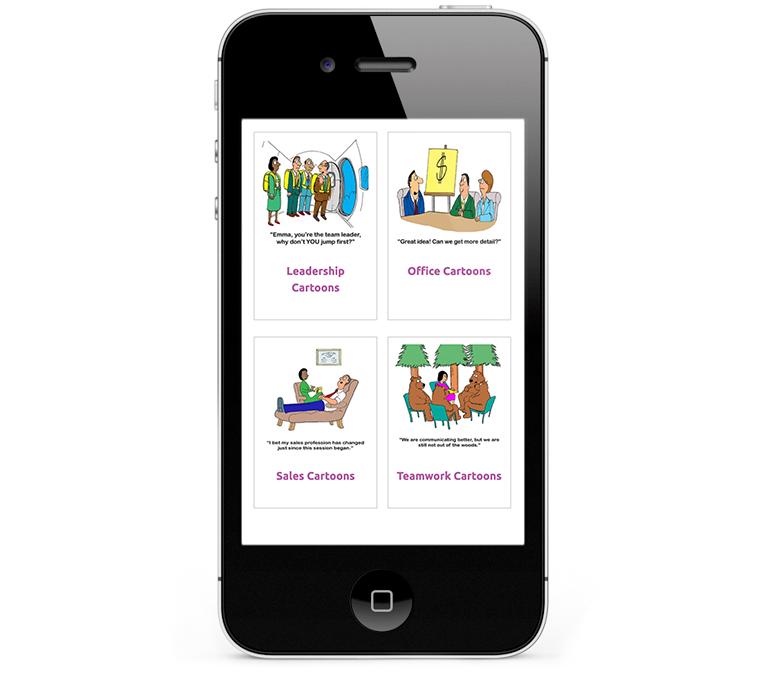 Responsive web design iPhones and Smartphones for Cartoon Resource