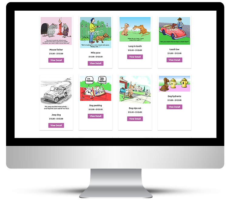 Shop overview bespoke web design for Cartoon Resource